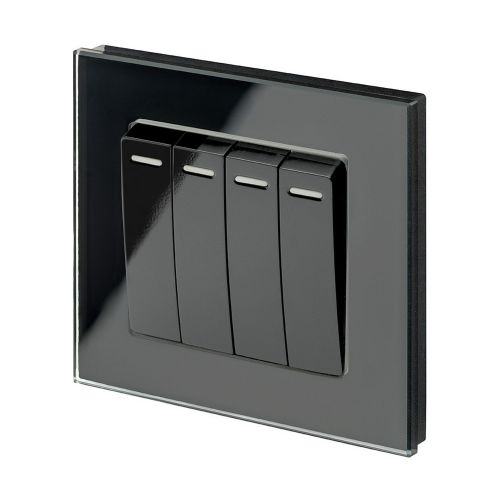 RetroTouch 4 Gang 1 or 2 Way 10A Rocker Light Switch Black Glass PG 00262